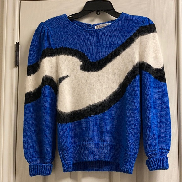 Vintage Mock Neck Chunky Knit Sweater S Blue Black Oversized Tunic Shoulder Pads